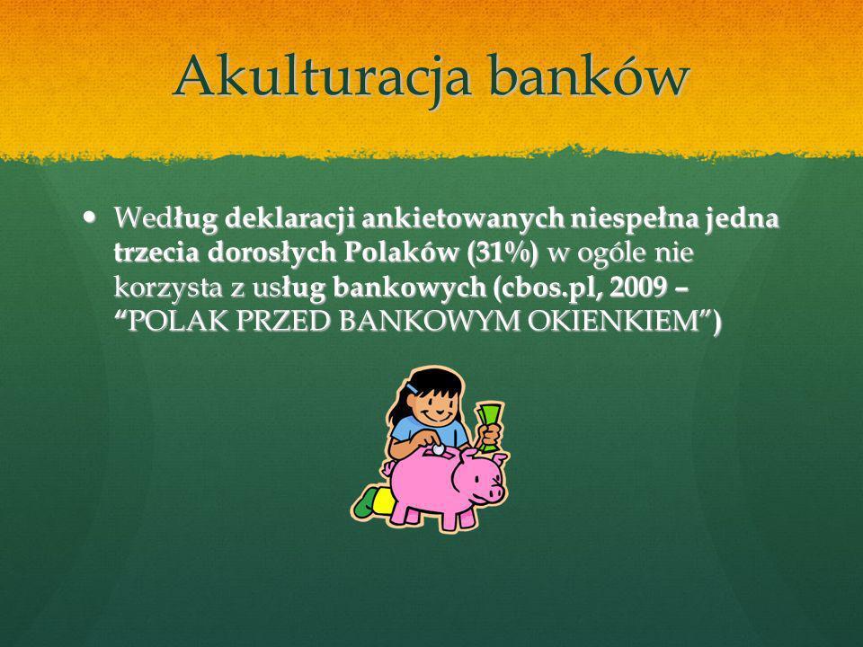 Akulturacja banków Wed ług deklaracji ankietowanych niespełna jedna trzecia dorosłych Polaków (31%) w ogóle nie korzysta z us ług bankowych (cbos.pl, 2009 – POLAK PRZED BANKOWYM OKIENKIEM ) Wed ług deklaracji ankietowanych niespełna jedna trzecia dorosłych Polaków (31%) w ogóle nie korzysta z us ług bankowych (cbos.pl, 2009 – POLAK PRZED BANKOWYM OKIENKIEM )