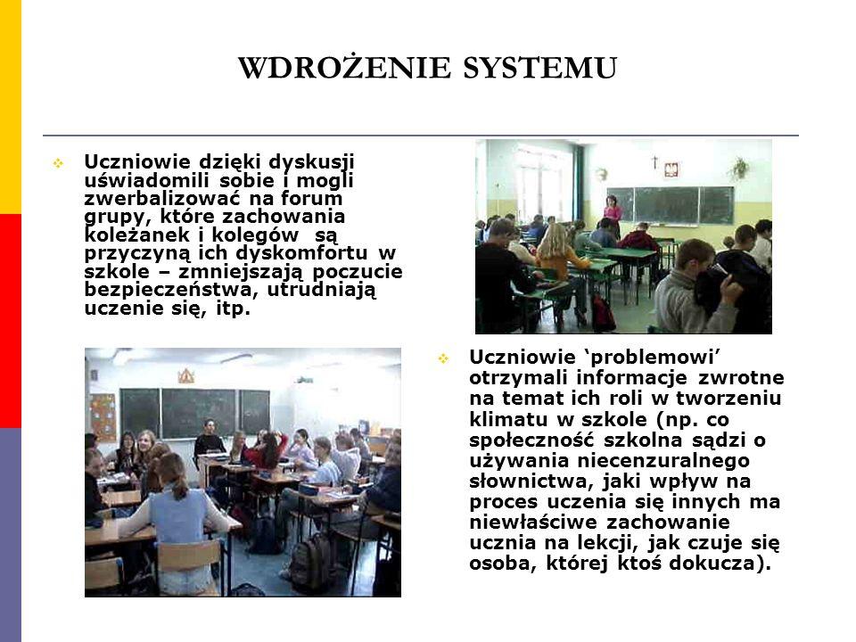 WDROŻENIE SYSTEMU Uczniowie dzięki dyskusji uświadomili sobie i mogli zwerbalizować na forum grupy, które zachowania koleżanek i kolegów są przyczyną