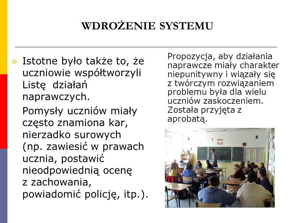WDROŻENIE SYSTEMU Istotne było także to, że uczniowie współtworzyli Listę działań naprawczych. Pomysły uczniów miały często znamiona kar, nierzadko su