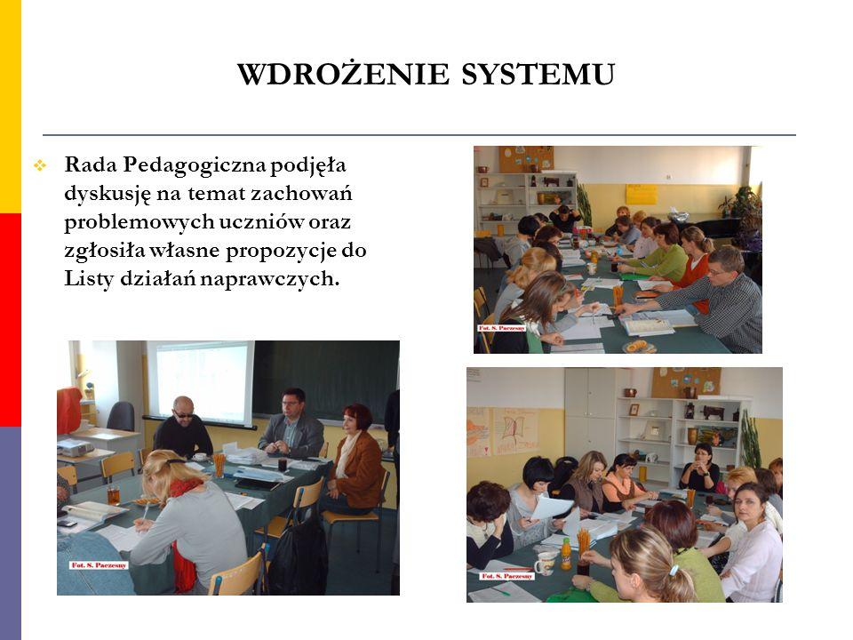 WDROŻENIE SYSTEMU Rada Pedagogiczna podjęła dyskusję na temat zachowań problemowych uczniów oraz zgłosiła własne propozycje do Listy działań naprawczy
