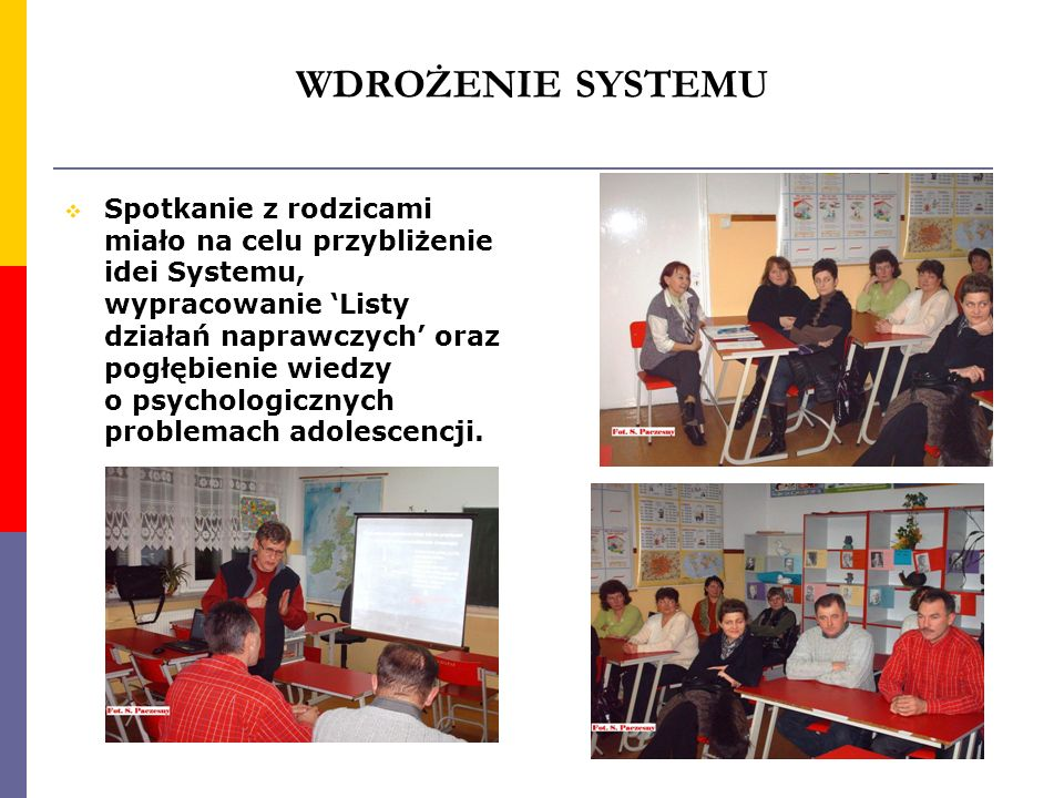 WDROŻENIE SYSTEMU Spotkanie z rodzicami miało na celu przybliżenie idei Systemu, wypracowanie Listy działań naprawczych oraz pogłębienie wiedzy o psyc