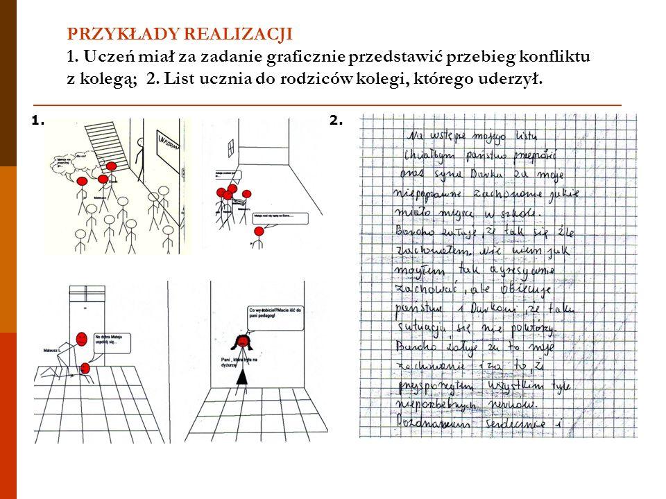 PRZYKŁADY REALIZACJI 1. Uczeń miał za zadanie graficznie przedstawić przebieg konfliktu z kolegą; 2. List ucznia do rodziców kolegi, którego uderzył.