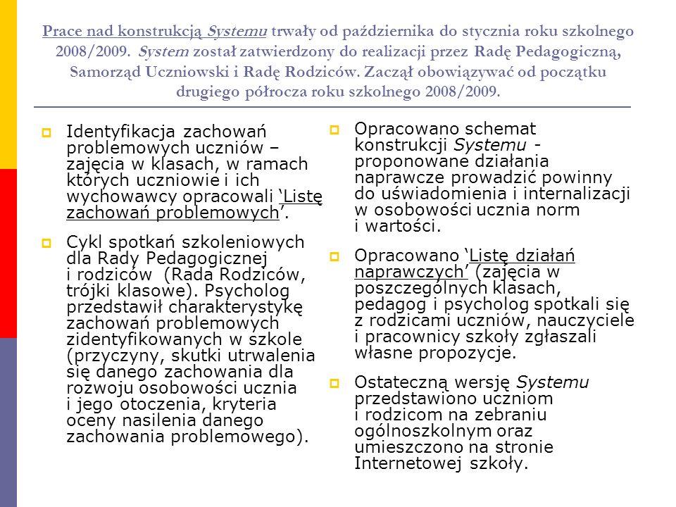 Prace nad konstrukcją Systemu trwały od października do stycznia roku szkolnego 2008/2009. System został zatwierdzony do realizacji przez Radę Pedagog