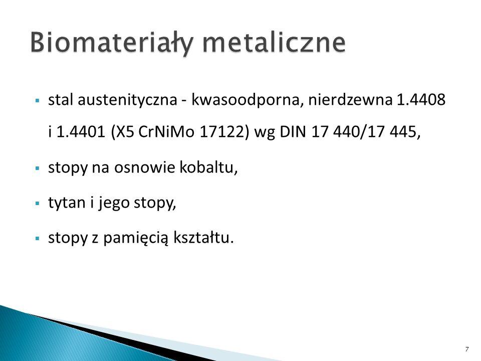 stal austenityczna - kwasoodporna, nierdzewna 1.4408 i 1.4401 (X5 CrNiMo 17122) wg DIN 17 440/17 445, stopy na osnowie kobaltu, tytan i jego stopy, st