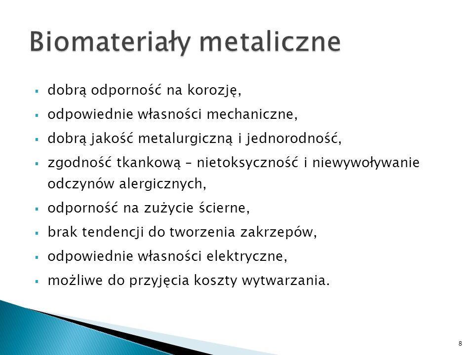 dobrą odporność na korozję, odpowiednie własności mechaniczne, dobrą jakość metalurgiczną i jednorodność, zgodność tkankową – nietoksyczność i niewywo