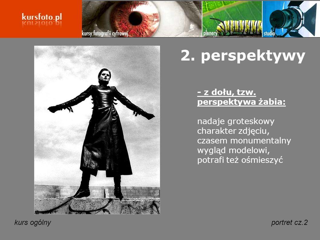kurs ogólnyportret cz.2 2. perspektywy - z dołu, tzw. perspektywa żabia: nadaje groteskowy charakter zdjęciu, czasem monumentalny wygląd modelowi, pot