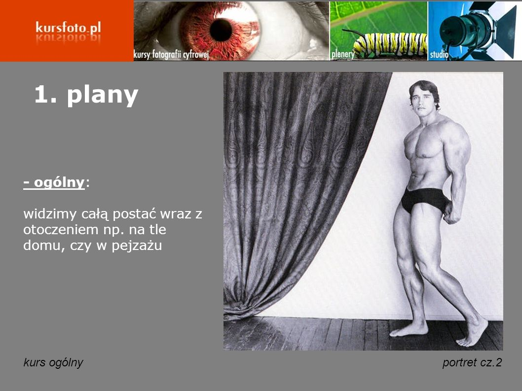 kurs ogólnyportret cz.2 1. plany - ogólny: widzimy całą postać wraz z otoczeniem np. na tle domu, czy w pejzażu