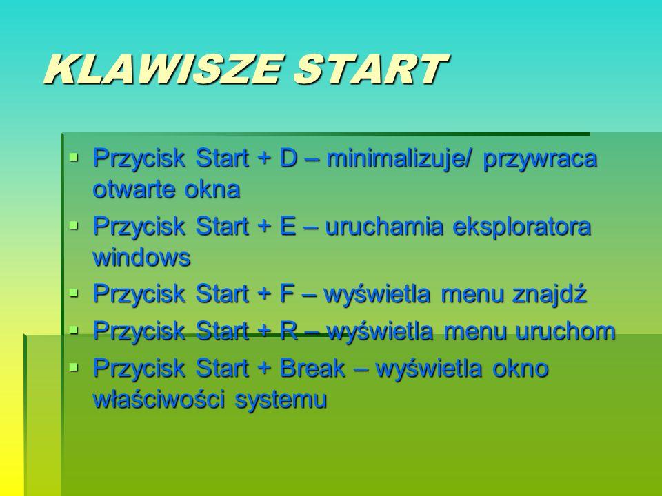KLAWISZE START Przycisk Start + D – minimalizuje/ przywraca otwarte okna Przycisk Start + E – uruchamia eksploratora windows Przycisk Start + F – wyśw