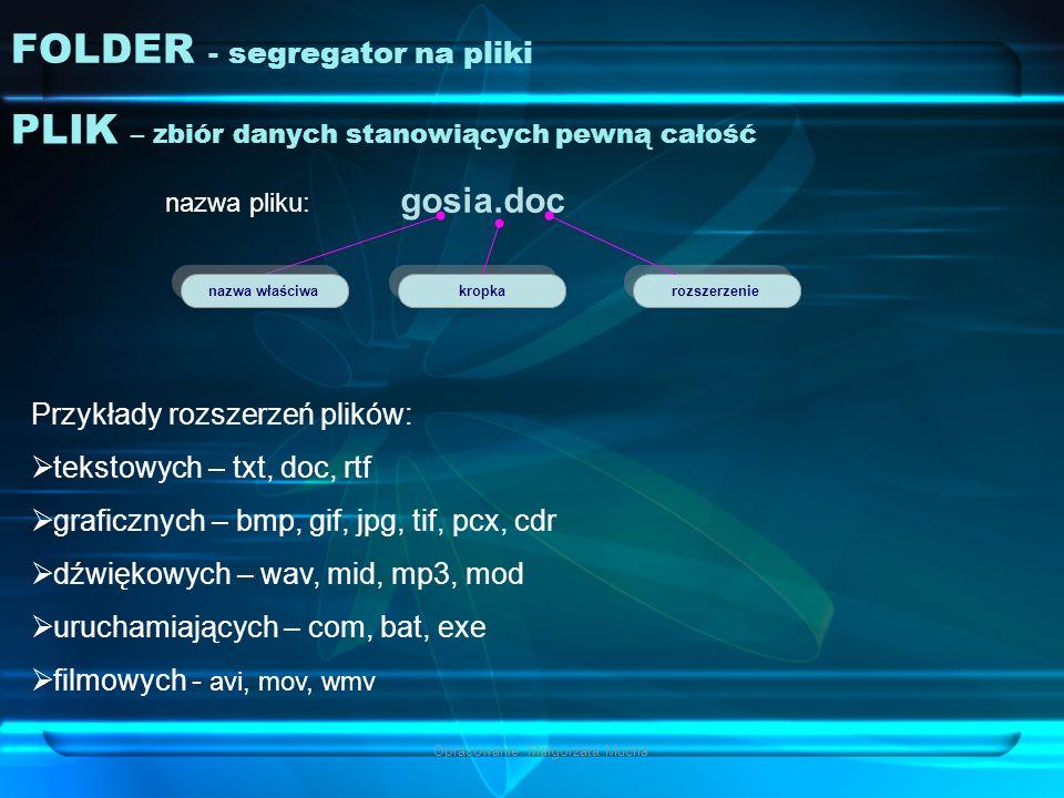 Opracowanie: Małgorzata Mucha FOLDER - segregator na pliki PLIK – zbiór danych stanowiących pewną całość gosia.doc nazwa pliku: nazwa właściwa kropka