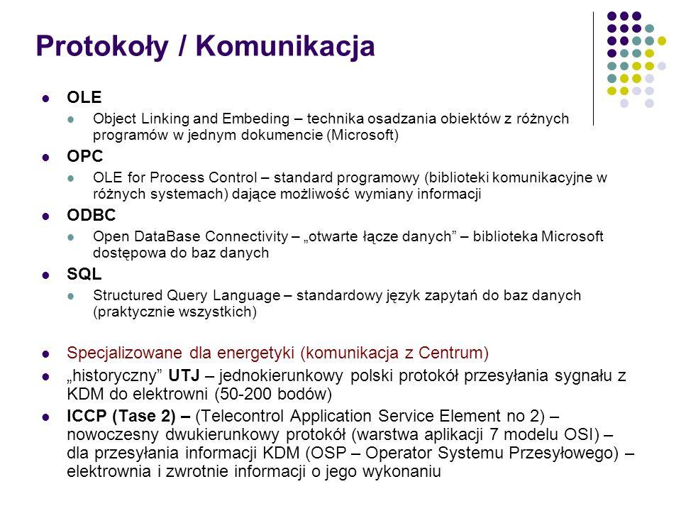 Protokoły / Komunikacja OLE Object Linking and Embeding – technika osadzania obiektów z różnych programów w jednym dokumencie (Microsoft) OPC OLE for Process Control – standard programowy (biblioteki komunikacyjne w różnych systemach) dające możliwość wymiany informacji ODBC Open DataBase Connectivity – otwarte łącze danych – biblioteka Microsoft dostępowa do baz danych SQL Structured Query Language – standardowy język zapytań do baz danych (praktycznie wszystkich) Specjalizowane dla energetyki (komunikacja z Centrum) historyczny UTJ – jednokierunkowy polski protokół przesyłania sygnału z KDM do elektrowni (50-200 bodów) ICCP (Tase 2) – (Telecontrol Application Service Element no 2) – nowoczesny dwukierunkowy protokół (warstwa aplikacji 7 modelu OSI) – dla przesyłania informacji KDM (OSP – Operator Systemu Przesyłowego) – elektrownia i zwrotnie informacji o jego wykonaniu