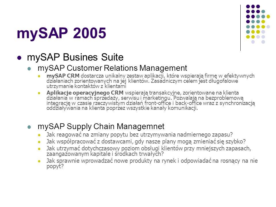 mySAP 2005 mySAP Busines Suite mySAP ERP Wartością dodaną pierwszej generacji rozwiązań ERP była integracja i przetwarzanie danych w czasie rzeczywist