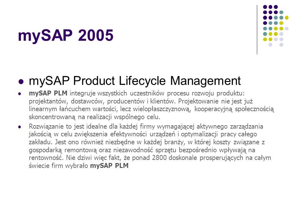 mySAP 2005 mySAP Supply Relationship Management mySAP SRM obejmuje pełen cykl dostaw - począwszy od strategicznego ustalania źródła dostaw po operacyj