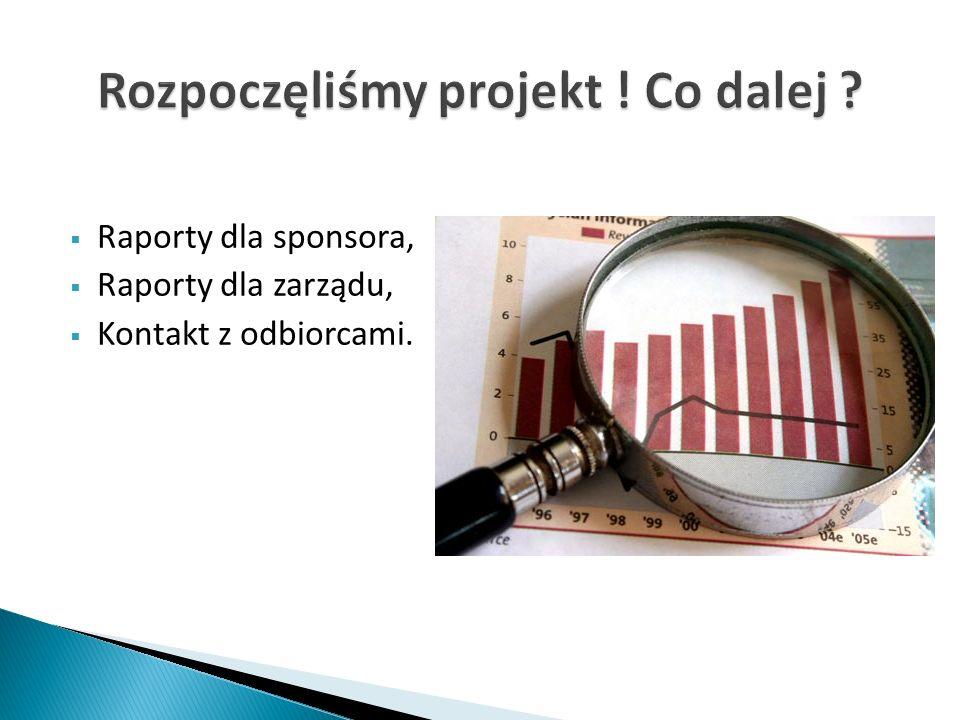 Raporty dla sponsora, Raporty dla zarządu, Kontakt z odbiorcami.