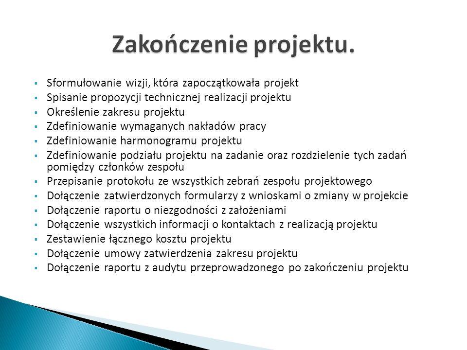 Sformułowanie wizji, która zapoczątkowała projekt Spisanie propozycji technicznej realizacji projektu Określenie zakresu projektu Zdefiniowanie wymaga