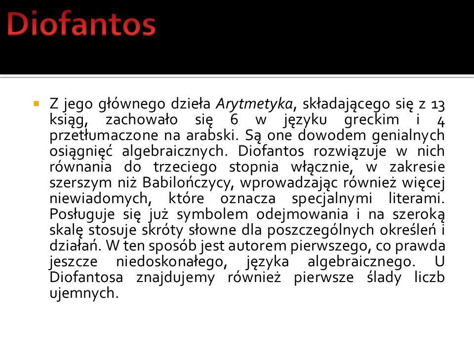 Z jego głównego dzieła Arytmetyka, składającego się z 13 ksiąg, zachowało się 6 w języku greckim i 4 przetłumaczone na arabski. Są one dowodem genialn