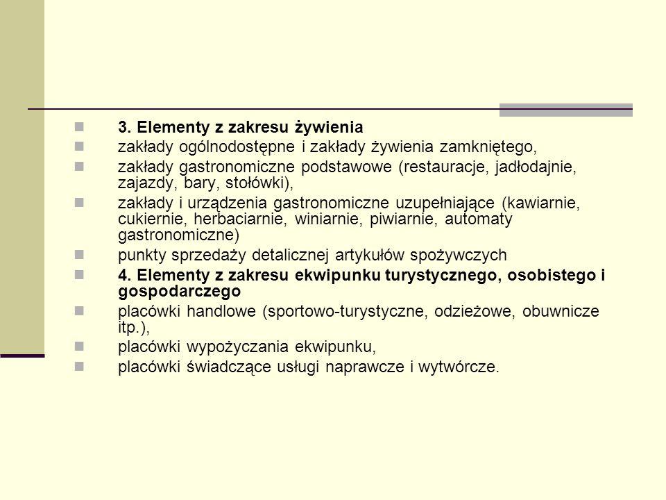 3. Elementy z zakresu żywienia zakłady ogólnodostępne i zakłady żywienia zamkniętego, zakłady gastronomiczne podstawowe (restauracje, jadłodajnie, zaj