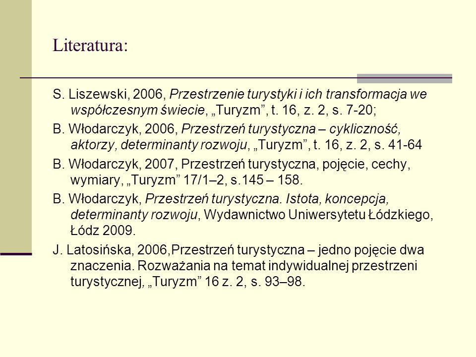 Literatura: S. Liszewski, 2006, Przestrzenie turystyki i ich transformacja we współczesnym świecie, Turyzm, t. 16, z. 2, s. 7-20; B. Włodarczyk, 2006,