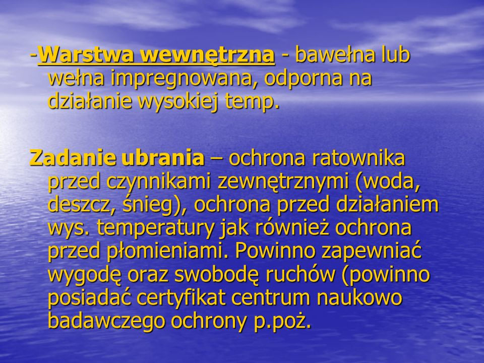 Podział ubrań ognioodpornych i żaroodpornych.