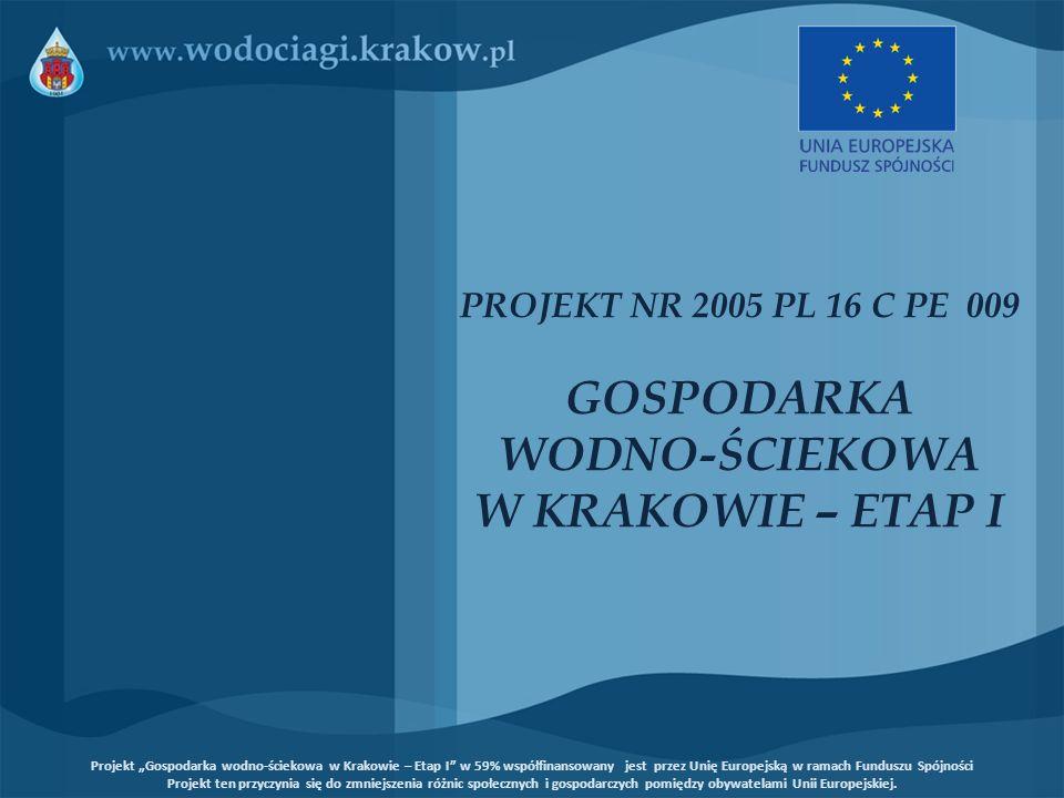 Koszty kwalifikowane projektu Całkowity koszt 36.405.900 Euro Kwota dofinansowania ze środków Funduszu Spójności 21.479.481 Euro Projekt Gospodarka wodno-ściekowa w Krakowie – Etap I w 59% współfinansowany jest przez Unię Europejską w ramach Funduszu Spójności Projekt ten przyczynia się do zmniejszenia różnic społecznych i gospodarczych pomiędzy obywatelami Unii Europejskiej.