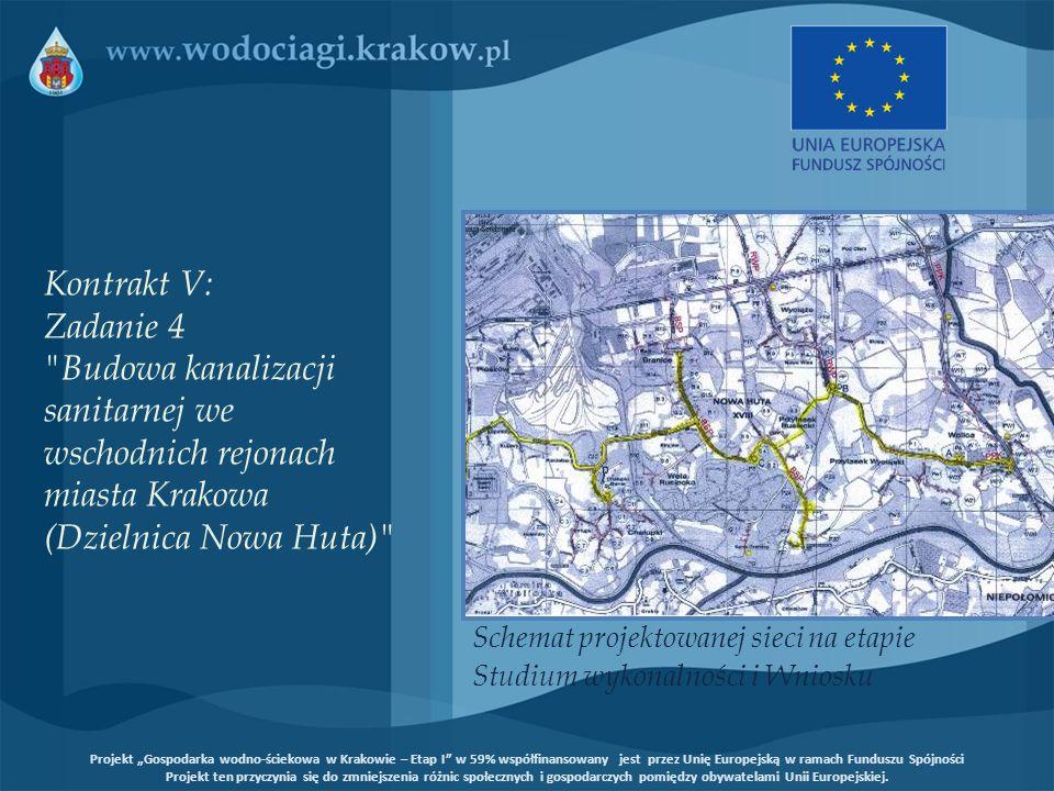 Schemat projektowanej sieci na etapie Studium wykonalności i Wniosku Kontrakt V: Zadanie 4