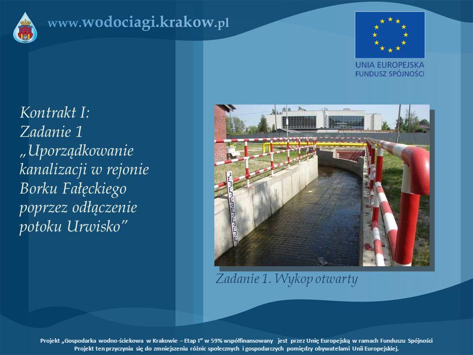Budowa około 900 metrów kanału o średnicy 1400 mm w technologii mikrotunelingu Cel: Poprawa stanu środowiska naturalnego (użytek ekologiczny – Łąki Nowohuckie) Kontrakt I: Zadanie 2 Budowa kanału odciążającego kolektor B w Nowej Hucie Projekt Gospodarka wodno-ściekowa w Krakowie – Etap I w 59% współfinansowany jest przez Unię Europejską w ramach Funduszu Spójności Projekt ten przyczynia się do zmniejszenia różnic społecznych i gospodarczych pomiędzy obywatelami Unii Europejskiej.
