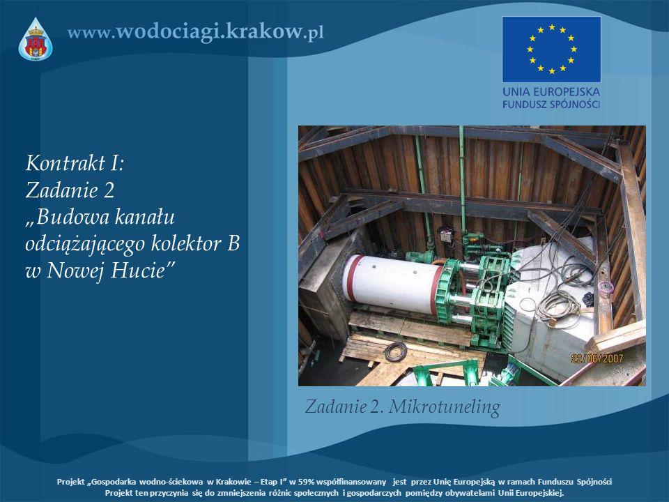 Kontrakt IV: Zadanie 3/3 Renowacja systemu kanalizacyjnego miasta Krakowa - kanały nieprzełazowe, Nowa Huta Renowacja metodami bezwykopowymi kanałów nieprzełazowych o łącznej długości około 22,8 km w 20 osiedlach Nowej Huty – Technologia renowacji kanałów za pomocą wykładziny utwardzanej na placu budowy (para wodna oraz gorąca woda) Projekt Gospodarka wodno-ściekowa w Krakowie – Etap I w 59% współfinansowany jest przez Unię Europejską w ramach Funduszu Spójności Projekt ten przyczynia się do zmniejszenia różnic społecznych i gospodarczych pomiędzy obywatelami Unii Europejskiej.