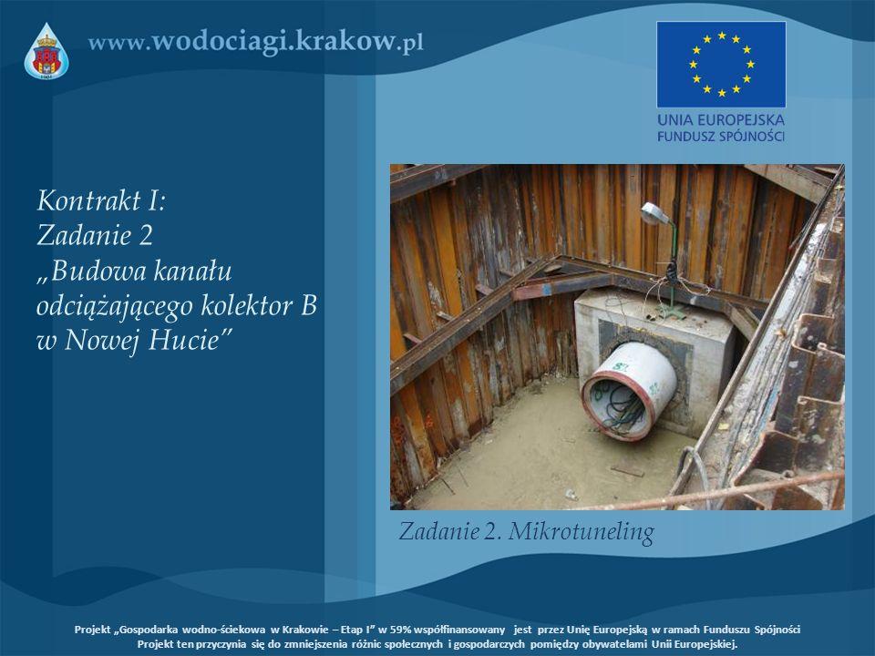 Kontrakt I: Zadanie 1 Uporządkowanie kanalizacji w rejonie Borku Fałęckiego poprzez odłączenie potoku Urwisko Zadanie 2 Budowa kanału odciążającego kolektor B w Nowej Hucie Projekt Gospodarka wodno-ściekowa w Krakowie – Etap I w 59% współfinansowany jest przez Unię Europejską w ramach Funduszu Spójności Projekt ten przyczynia się do zmniejszenia różnic społecznych i gospodarczych pomiędzy obywatelami Unii Europejskiej.