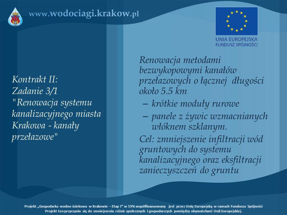 Kontrakt II: Zadanie 3/1 Renowacja systemu kanalizacyjnego miasta Krakowa - kanały przełazowe Wykonawca kontraktu – konsorcjum PBG/INFRA/PBRSP Cena kontraktowa – 9.532.972,6 EURO Zakończenie Kontraktu 18 sierpnia 2009 roku Projekt Gospodarka wodno-ściekowa w Krakowie – Etap I w 59% współfinansowany jest przez Unię Europejską w ramach Funduszu Spójności Projekt ten przyczynia się do zmniejszenia różnic społecznych i gospodarczych pomiędzy obywatelami Unii Europejskiej.