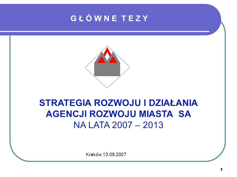 1 Kraków 13.09.2007 STRATEGIA ROZWOJU I DZIAŁANIA AGENCJI ROZWOJU MIASTA SA NA LATA 2007 – 2013 G Ł Ó W N E T E Z Y