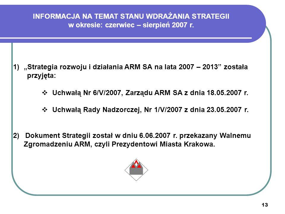 13 1)Strategia rozwoju i działania ARM SA na lata 2007 – 2013 została przyjęta: Uchwałą Nr 6/V/2007, Zarządu ARM SA z dnia 18.05.2007 r. Uchwałą Rady