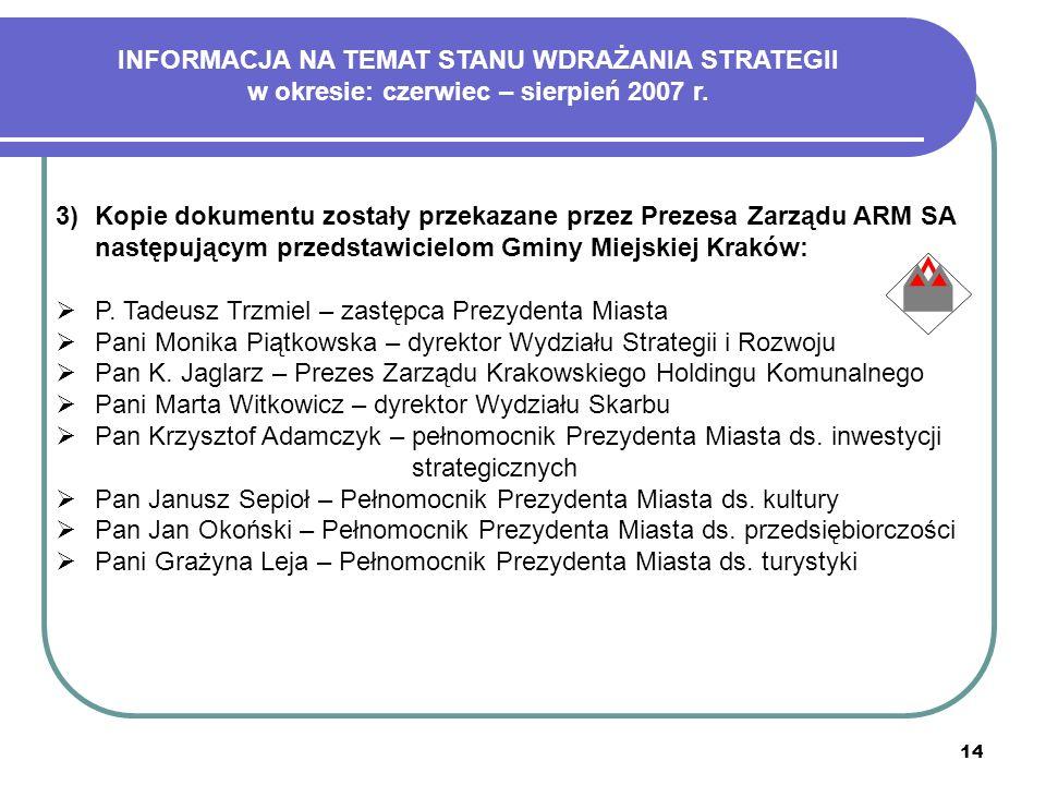 14 3)Kopie dokumentu zostały przekazane przez Prezesa Zarządu ARM SA następującym przedstawicielom Gminy Miejskiej Kraków: P. Tadeusz Trzmiel – zastęp