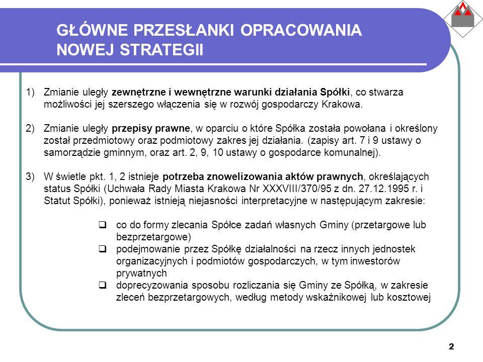 2 1)Zmianie uległy zewnętrzne i wewnętrzne warunki działania Spółki, co stwarza możliwości jej szerszego włączenia się w rozwój gospodarczy Krakowa. 2