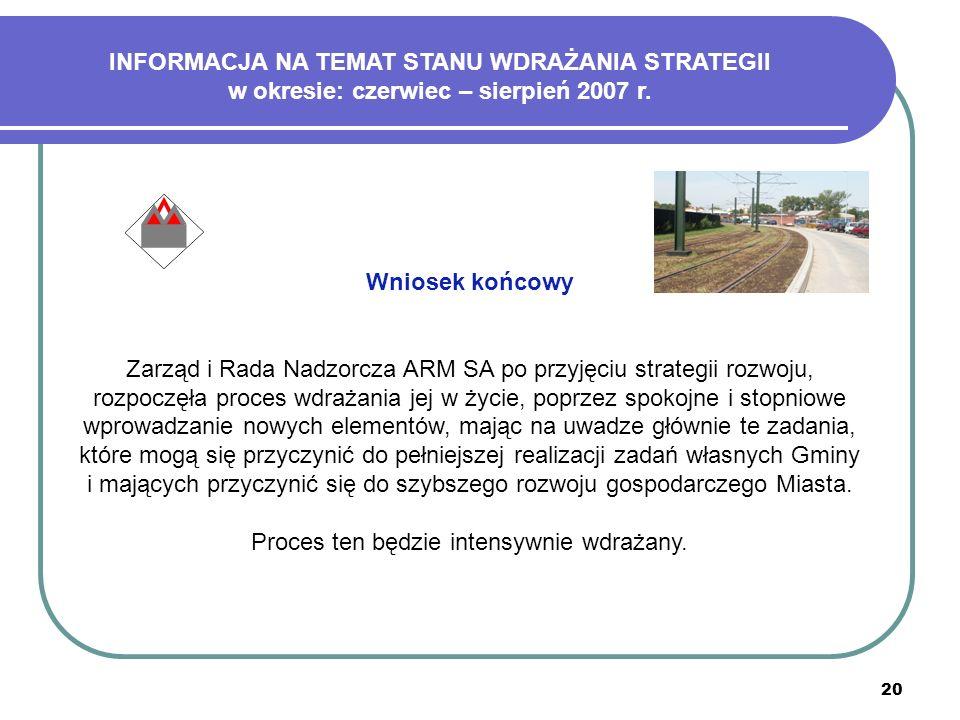 20 Wniosek końcowy Zarząd i Rada Nadzorcza ARM SA po przyjęciu strategii rozwoju, rozpoczęła proces wdrażania jej w życie, poprzez spokojne i stopniow