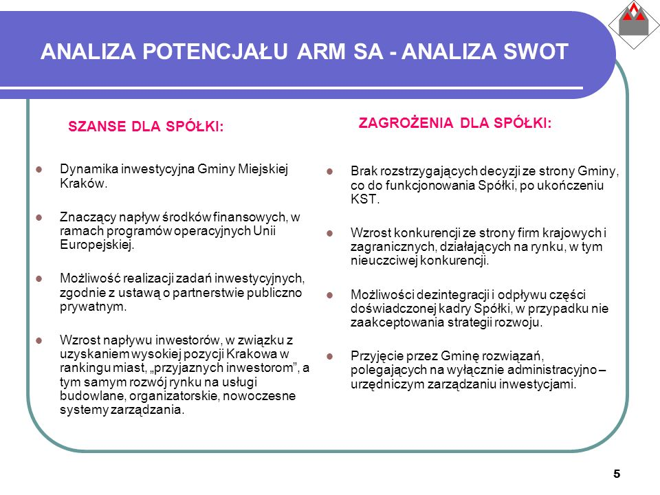 5 ANALIZA POTENCJAŁU ARM SA - ANALIZA SWOT SZANSE DLA SPÓŁKI: Dynamika inwestycyjna Gminy Miejskiej Kraków. Znaczący napływ środków finansowych, w ram