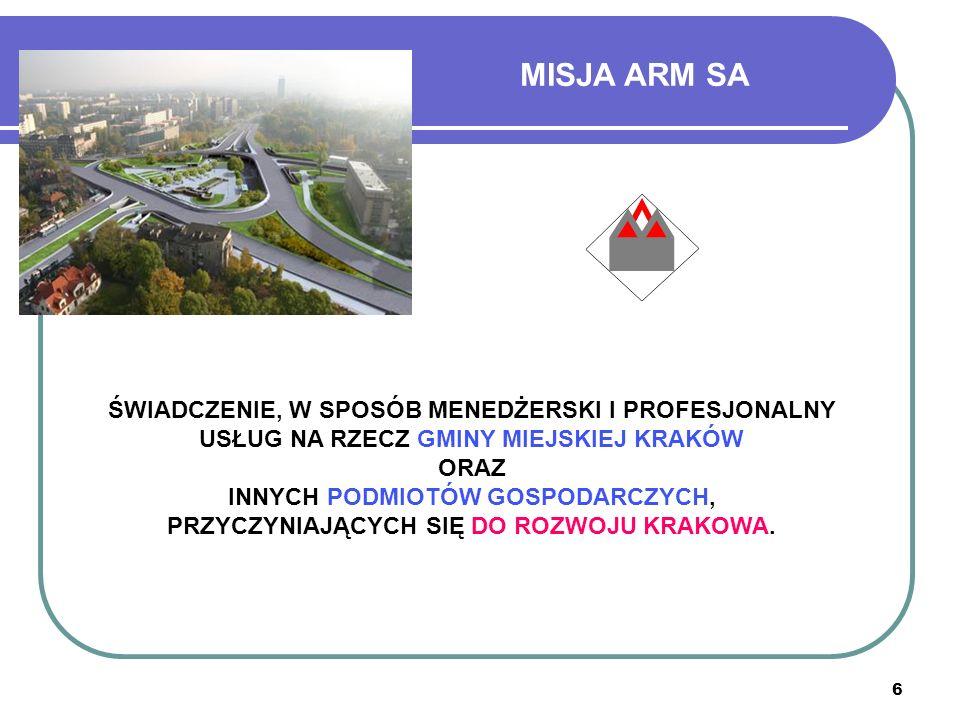 7 CELE STRATEGICZNE ARM 1)Obsługa i prowadzenie procesów inwestycyjnych, jako inwestor zastępczy.