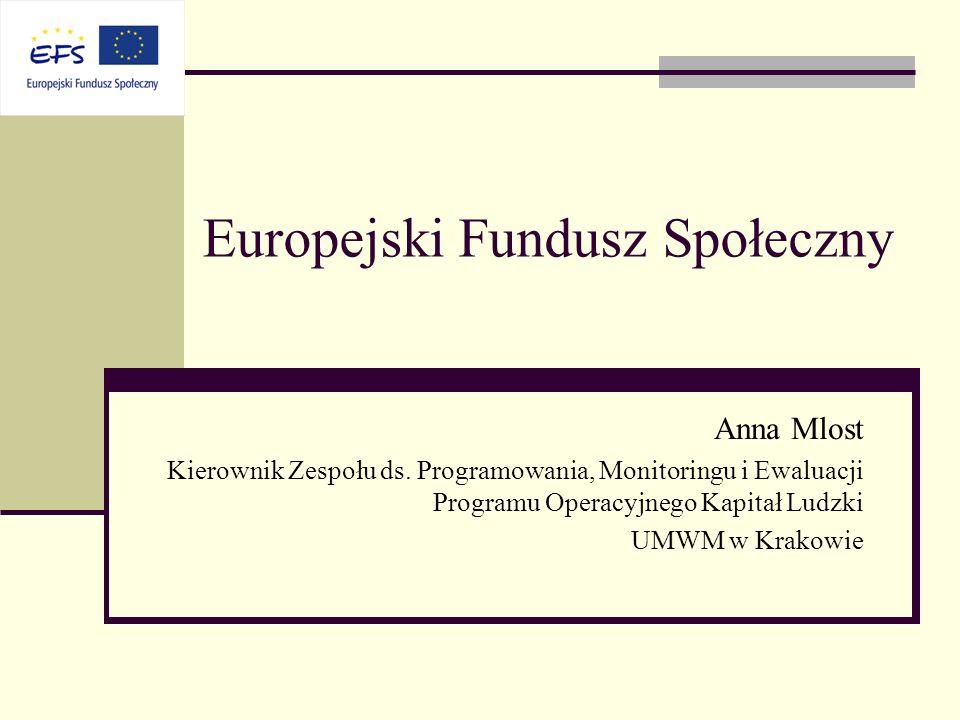 Europejski Fundusz Społeczny Anna Mlost Kierownik Zespołu ds. Programowania, Monitoringu i Ewaluacji Programu Operacyjnego Kapitał Ludzki UMWM w Krako