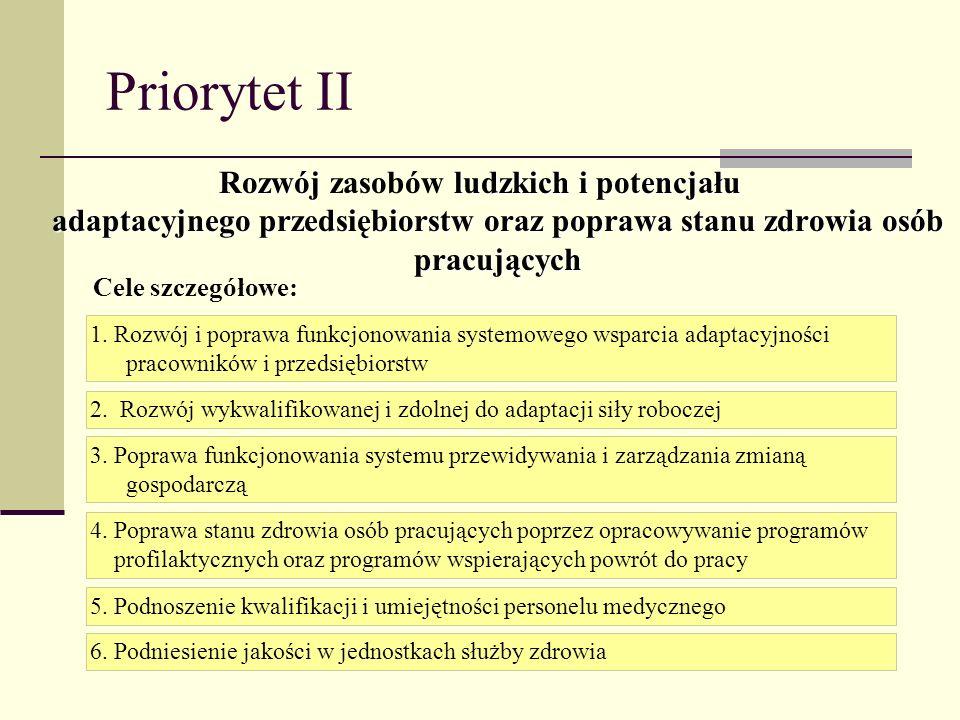 Priorytet II Rozwój ludzkich i potencjału adaptacyjnego przedsiębiorstw oraz poprawa stanu zdrowia osób pracujących Rozwój zasobów ludzkich i potencja