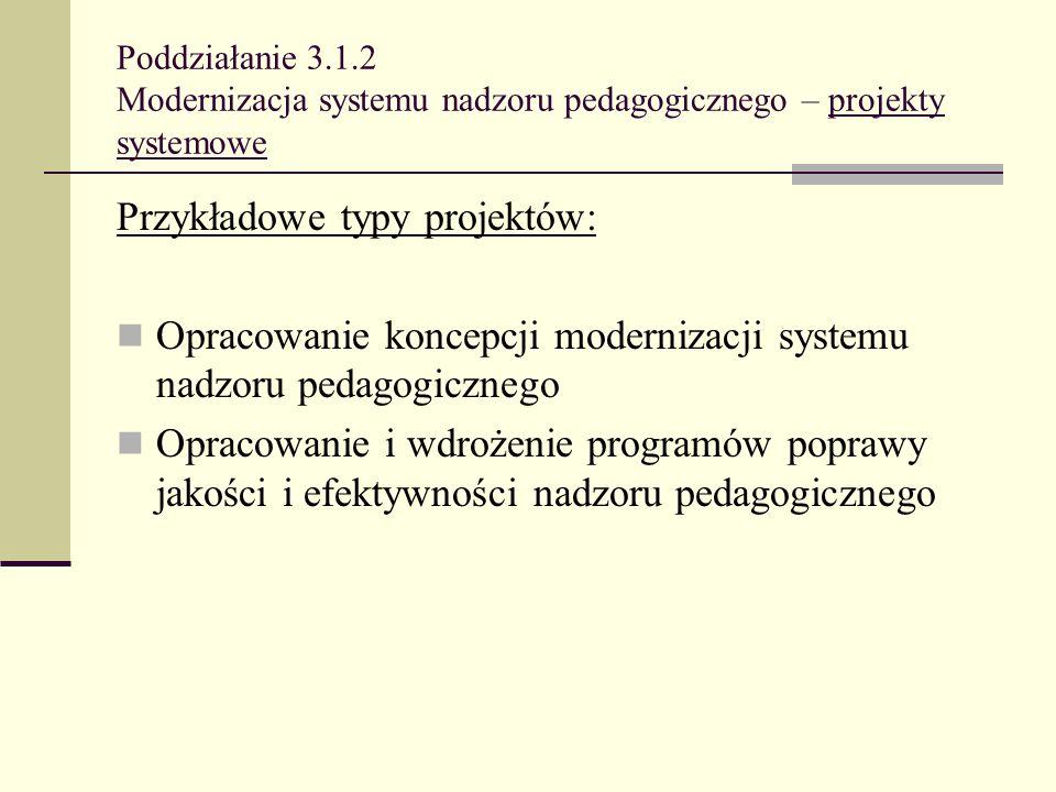 Poddziałanie 3.1.2 Modernizacja systemu nadzoru pedagogicznego – projekty systemowe Przykładowe typy projektów: Opracowanie koncepcji modernizacji sys