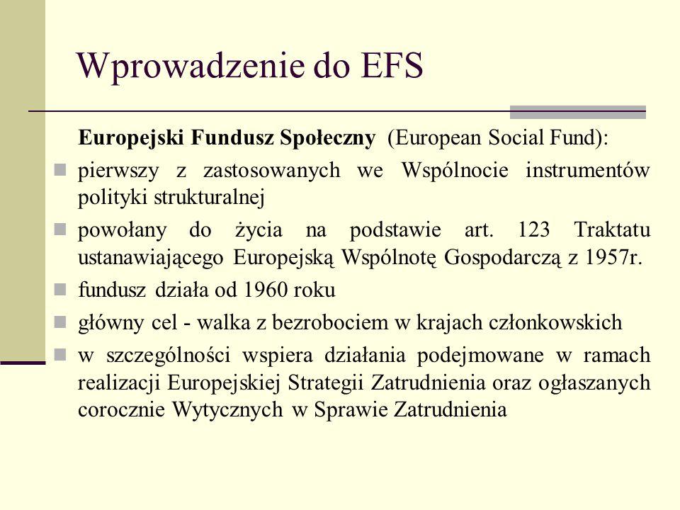 Wprowadzenie do EFS Europejski Fundusz Społeczny (European Social Fund): pierwszy z zastosowanych we Wspólnocie instrumentów polityki strukturalnej po