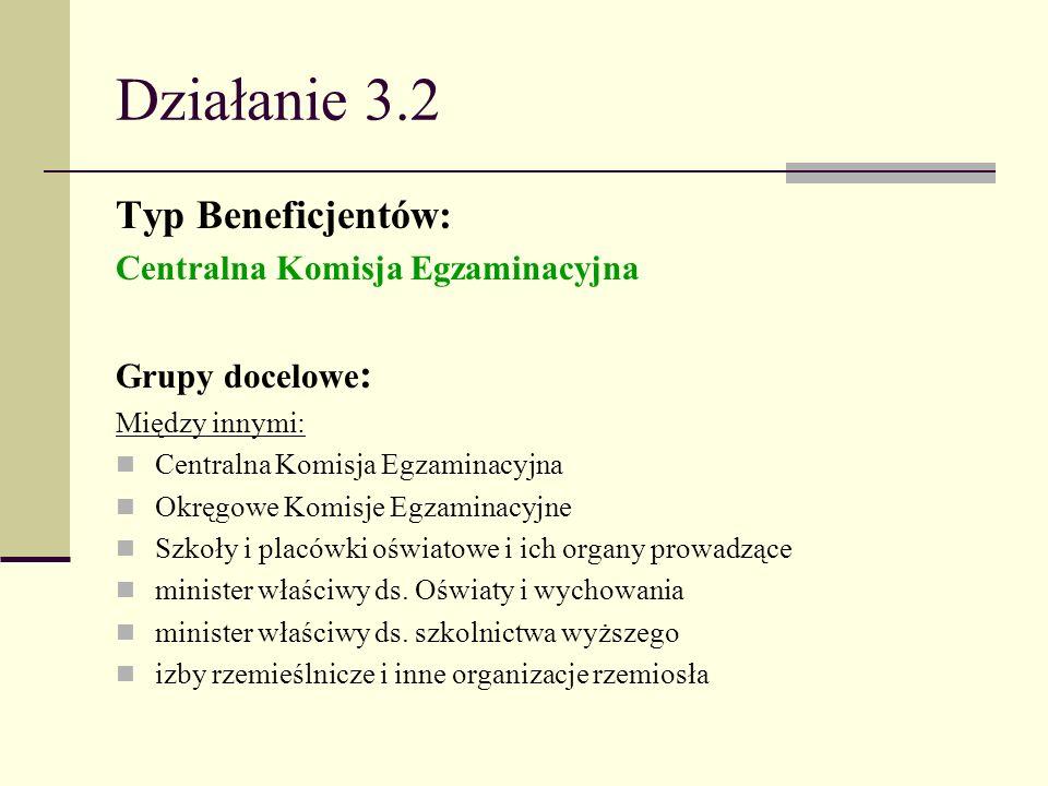 Działanie 3.2 Typ Beneficjentów: Centralna Komisja Egzaminacyjna Grupy docelowe : Między innymi: Centralna Komisja Egzaminacyjna Okręgowe Komisje Egza