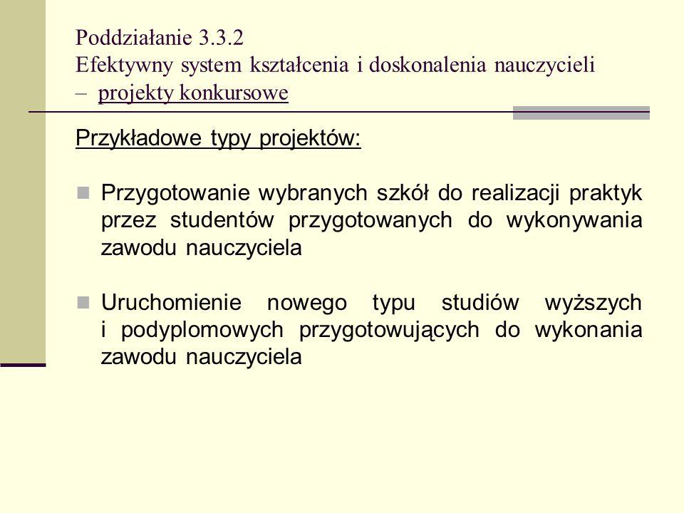 Poddziałanie 3.3.2 Efektywny system kształcenia i doskonalenia nauczycieli – projekty konkursowe Przykładowe typy projektów: Przygotowanie wybranych s