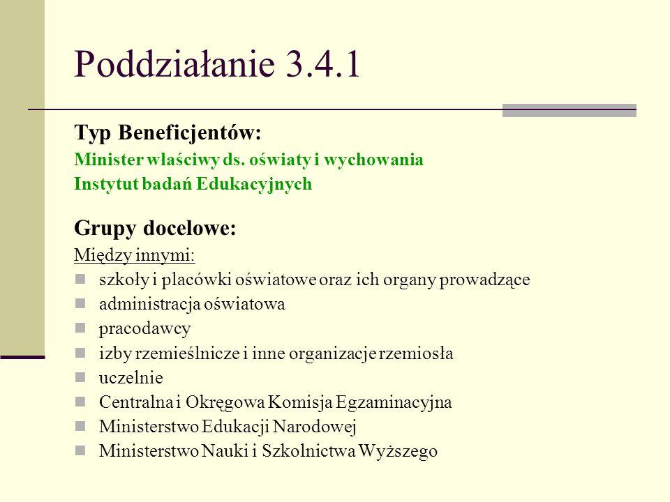 Poddziałanie 3.4.1 Typ Beneficjentów: Minister właściwy ds. oświaty i wychowania Instytut badań Edukacyjnych Grupy docelowe: Między innymi: szkoły i p