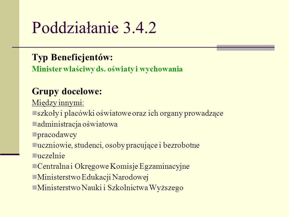 Poddziałanie 3.4.2 Typ Beneficjentów: Minister właściwy ds. oświaty i wychowania Grupy docelowe: Między innymi: szkoły i placówki oświatowe oraz ich o