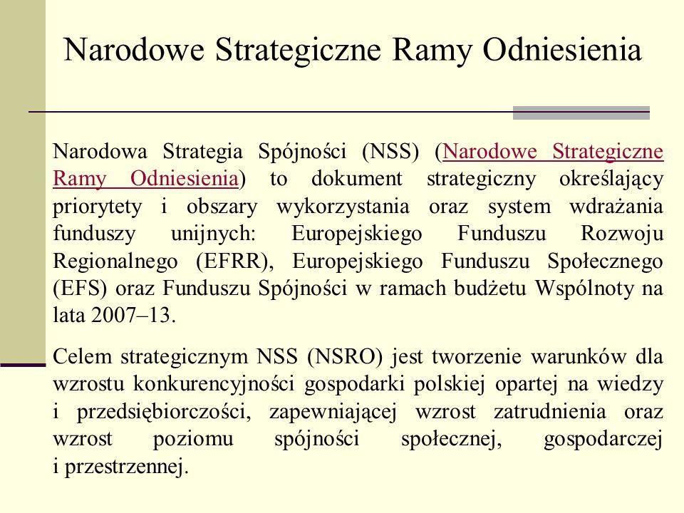 Narodowa Strategia Spójności (NSS) (Narodowe Strategiczne Ramy Odniesienia) to dokument strategiczny określający priorytety i obszary wykorzystania or