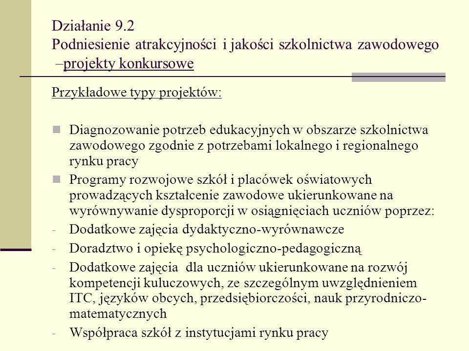 Działanie 9.2 Podniesienie atrakcyjności i jakości szkolnictwa zawodowego –projekty konkursowe Przykładowe typy projektów: Diagnozowanie potrzeb eduka