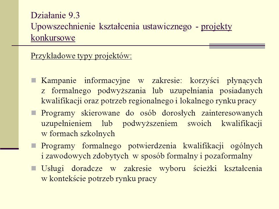 Działanie 9.3 Upowszechnienie kształcenia ustawicznego - projekty konkursowe Przykładowe typy projektów: Kampanie informacyjne w zakresie: korzyści pł