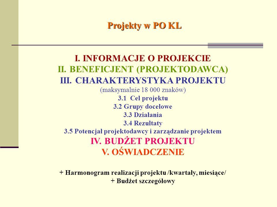 Projekty w PO KL I. INFORMACJE O PROJEKCIE II. BENEFICJENT (PROJEKTODAWCA) III. CHARAKTERYSTYKA PROJEKTU (maksymalnie 18 000 znaków) 3.1 Cel projektu