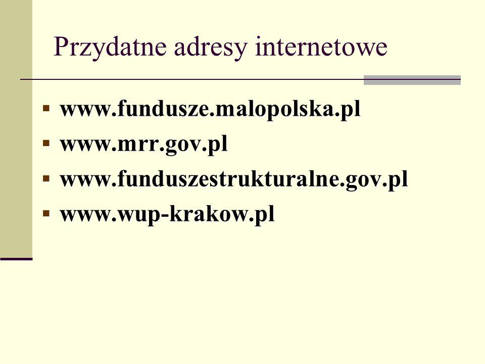 Przydatne adresy internetowe www.fundusze.malopolska.pl www.fundusze.malopolska.pl www.mrr.gov.pl www.mrr.gov.pl www.funduszestrukturalne.gov.pl www.f