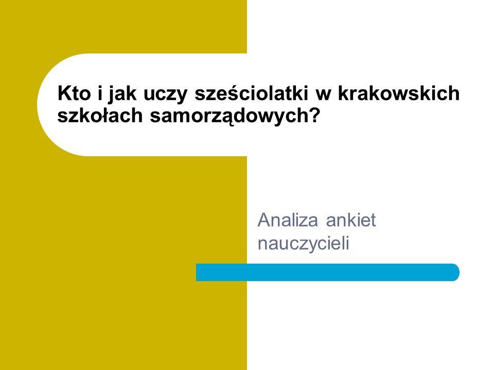 Kto i jak uczy sześciolatki w krakowskich szkołach samorządowych Analiza ankiet nauczycieli
