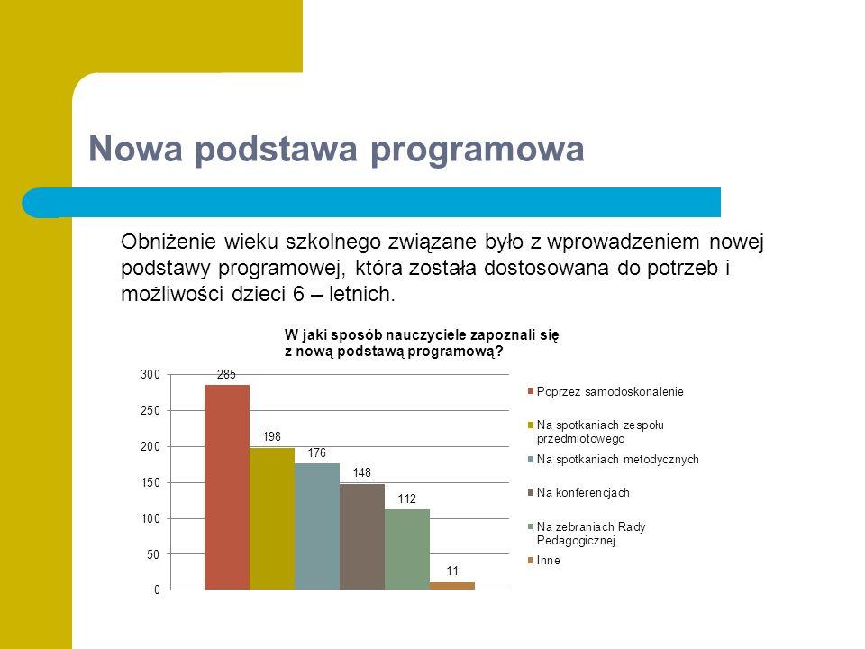 Nowa podstawa programowa Obniżenie wieku szkolnego związane było z wprowadzeniem nowej podstawy programowej, która została dostosowana do potrzeb i możliwości dzieci 6 – letnich.